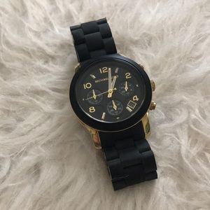 Michael Kors Matte Black and Gold Watch
